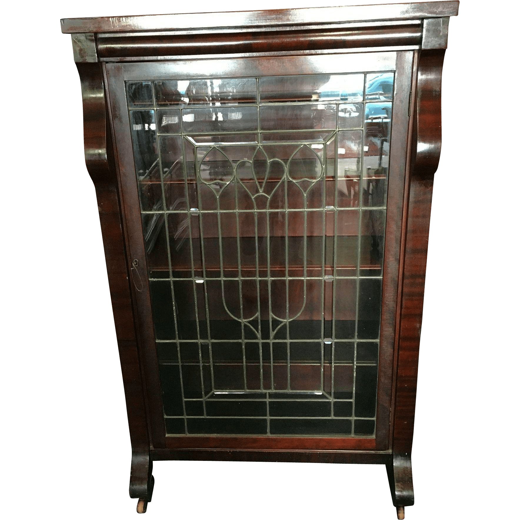Empire Revival Bookcase Or China Cabinet With Leaded Glass