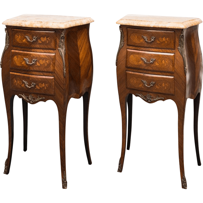 Louis Xv Style Bombe Commode S Or Night Tables From Maisondecorantiques On Ruby Lane - Commode Table
