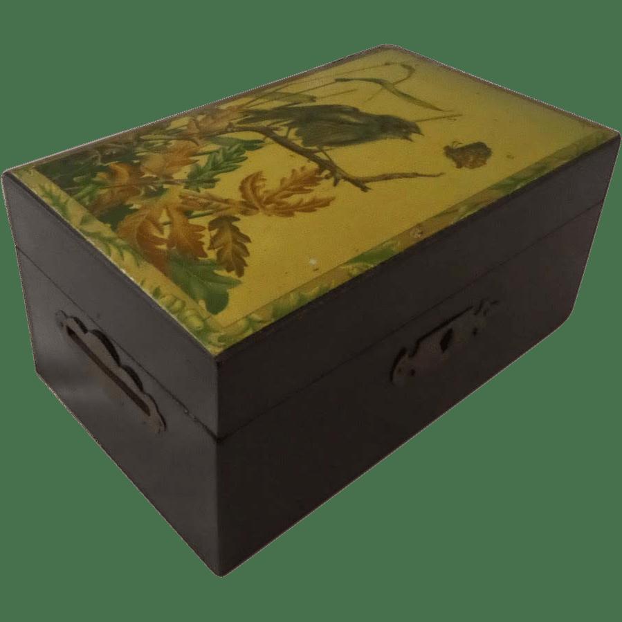 Victorian Money Box Double Slot Aesthetic Lithograph Print
