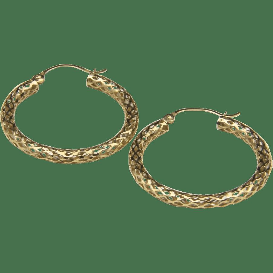 Beautiful 14k Yellow Gold Open Work Hoop Earrings Snake