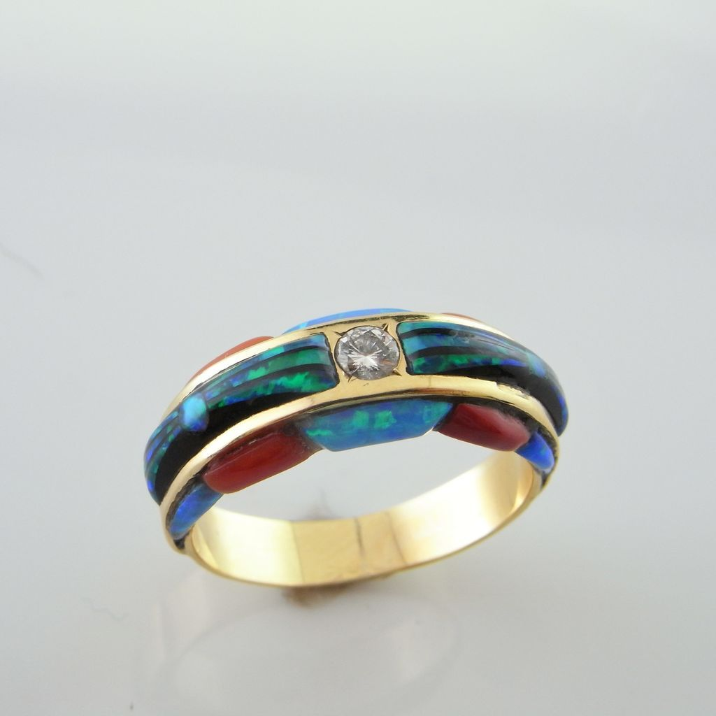 Diamond Opal Engagement Ring 14K Gold native american wedding bands Roll over Large image to magnify click Large image to zoom