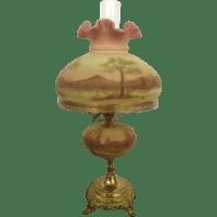 1973 Gorgeous Fenton Burmese Student Lamp Hand Painted