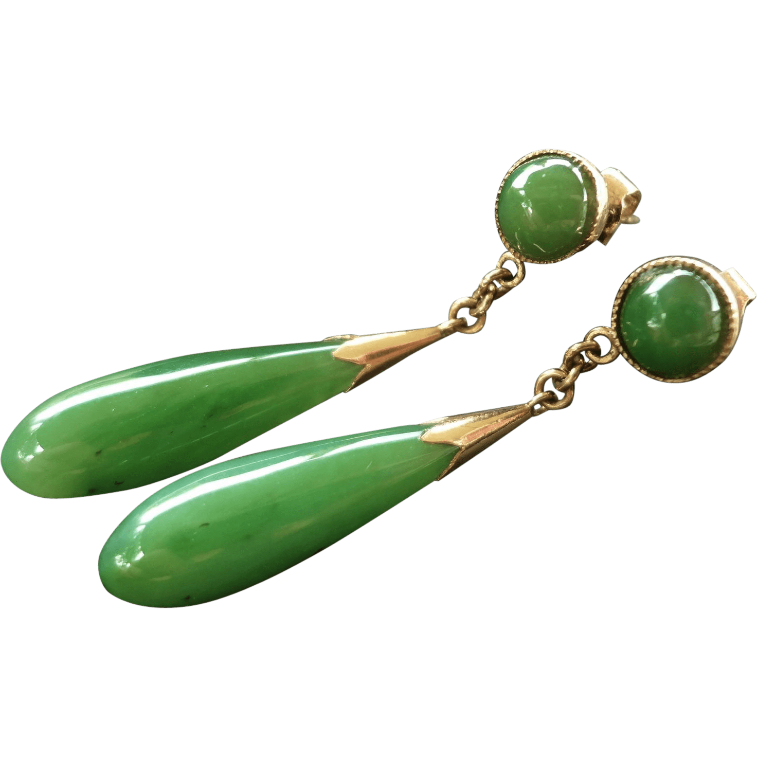 Vintage Chinese 14k Green Jade Earrings from jools4u on