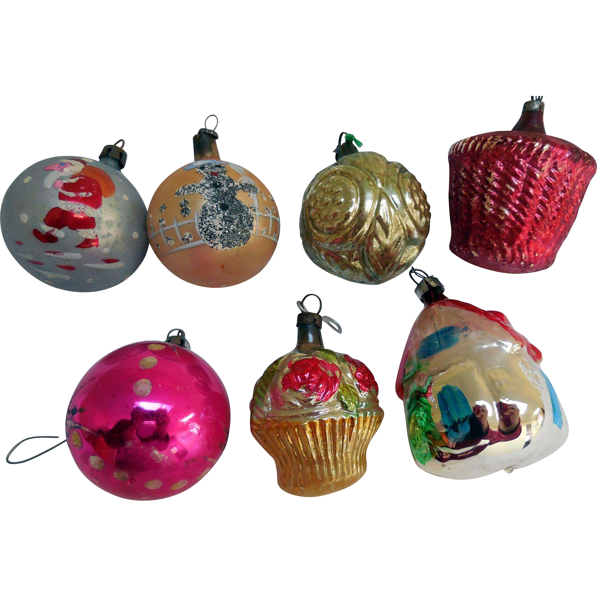 Early Glass Hand Painted Christmas Tree Ornaments From