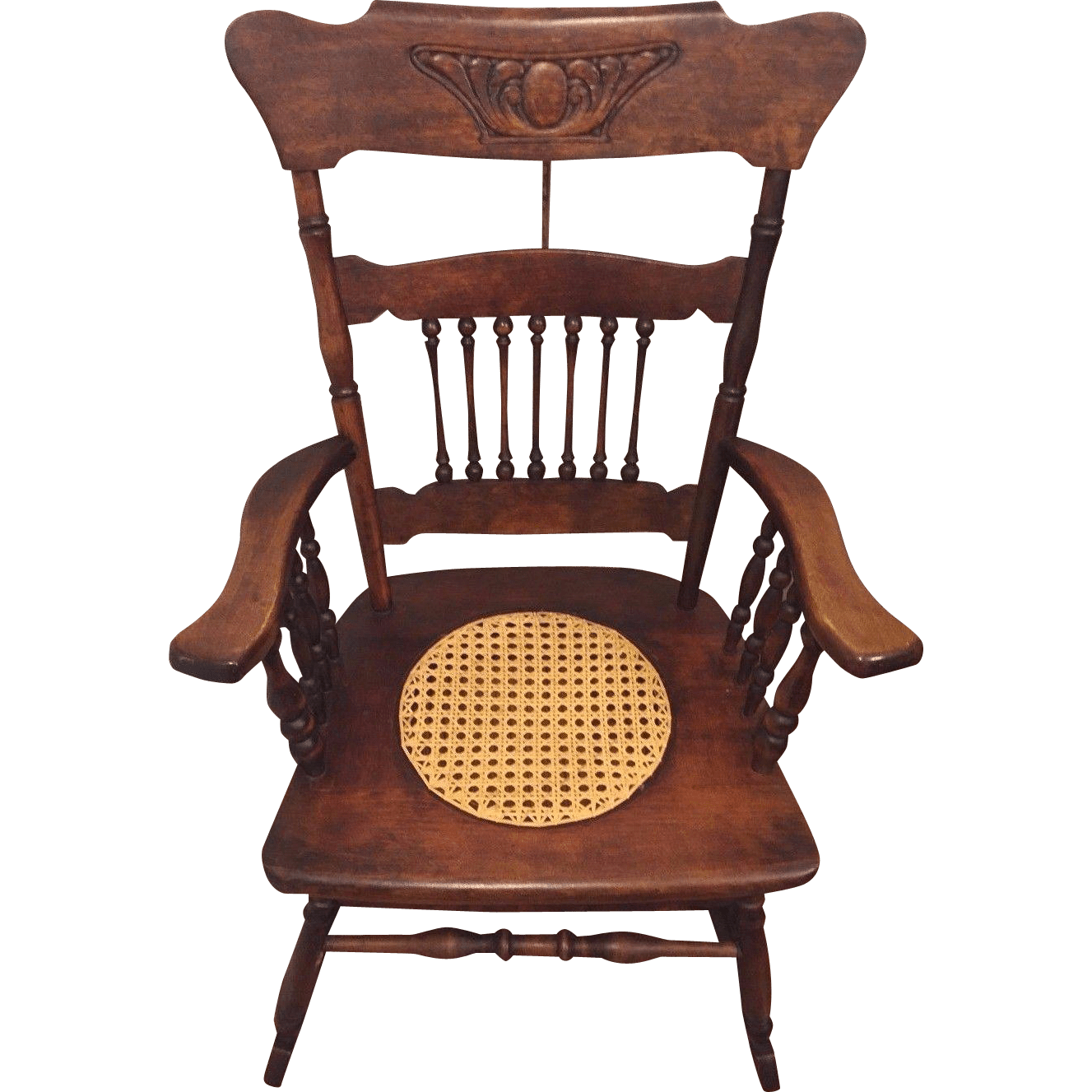 Antique Rocking Chair W Cane Seat Hartwig Kemper