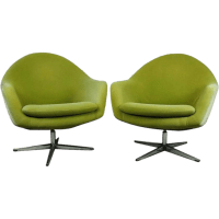Pair of Mid-Century Modern Knoll Style Upholstered Swivel ...