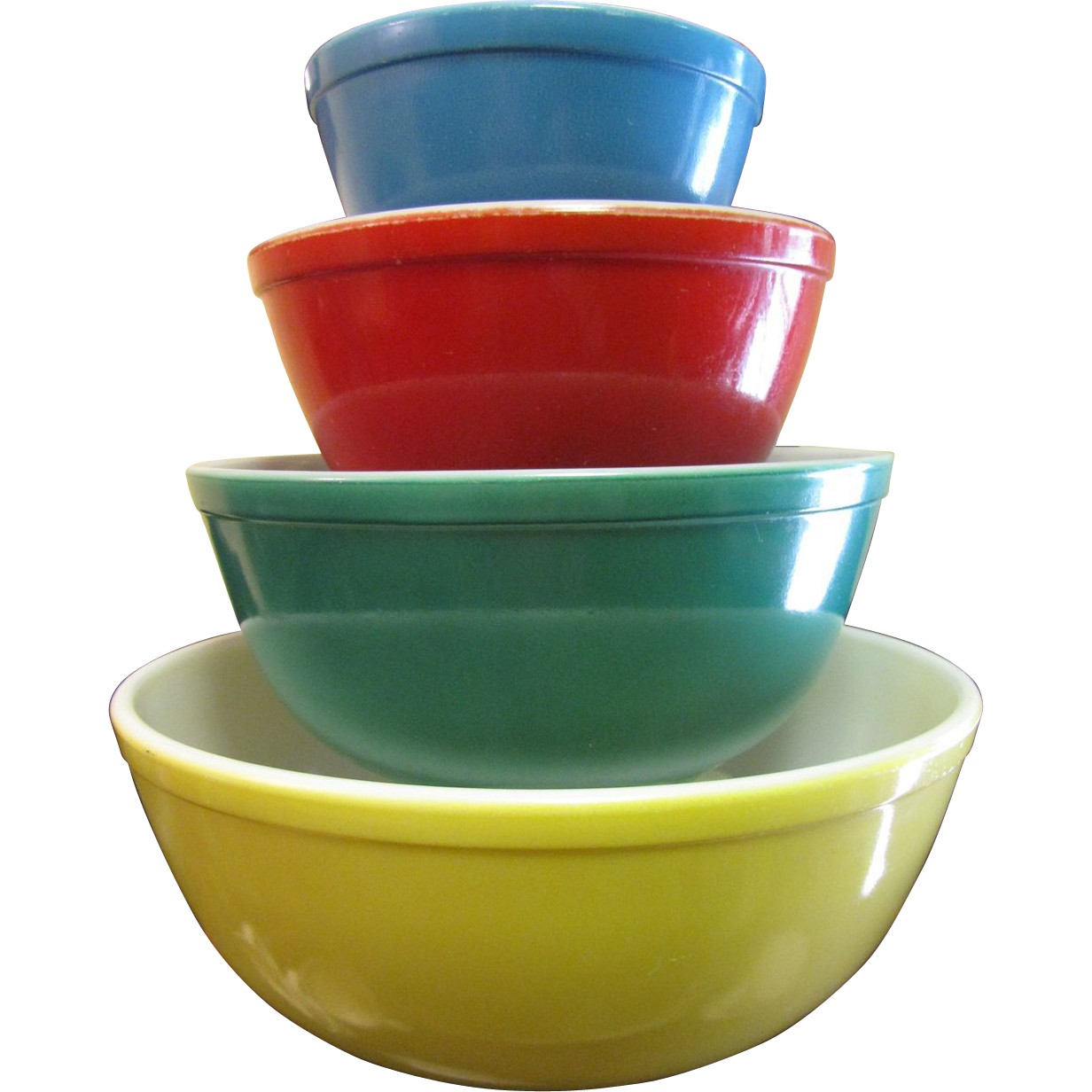 Set of Vintage Pyrex Primary Color Mixing Bowls from
