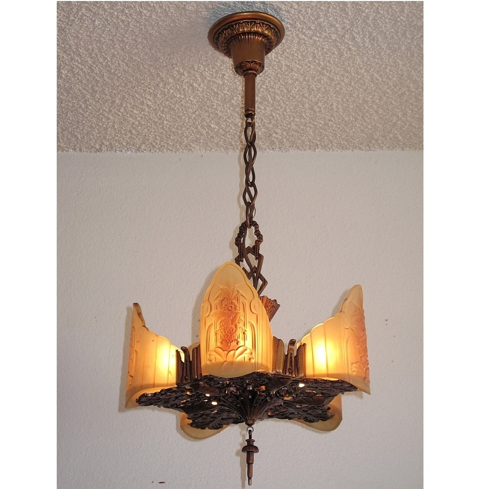 Beautiful 5 light vintage ceiling fixture in the art deco to arts crafts style