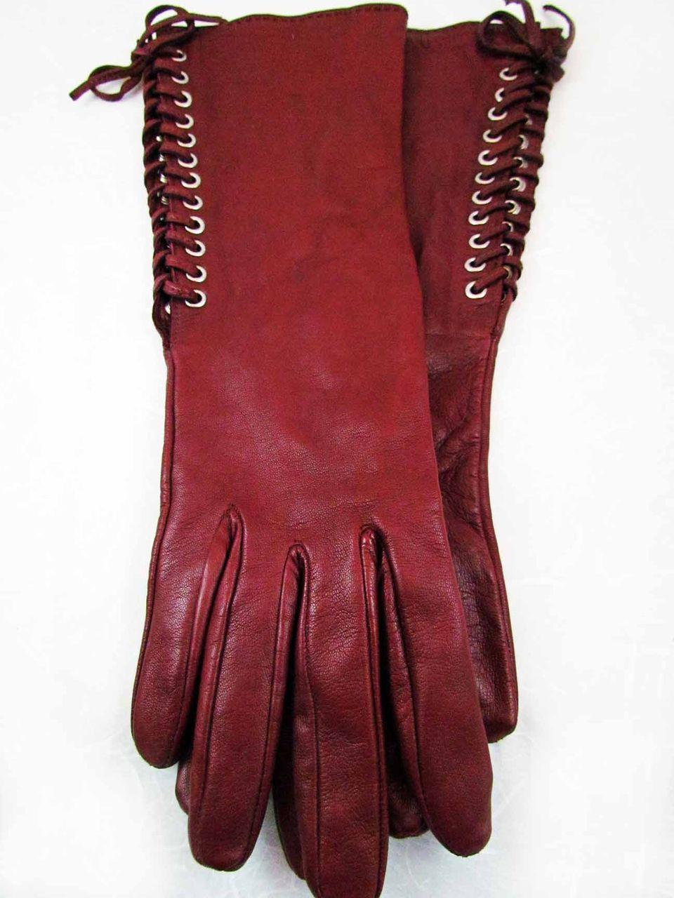 Vintage georges rech burgundy ladies leather gloves