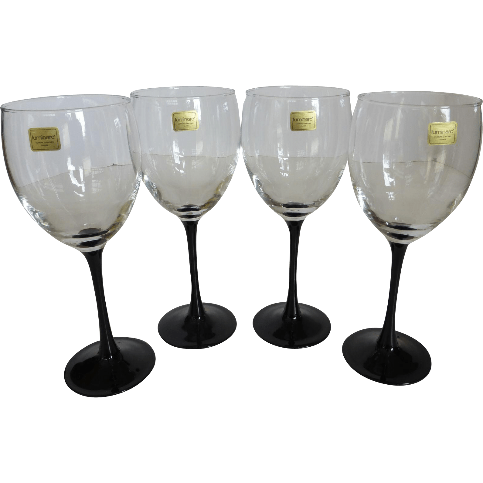 Wine Glasses With Black Stems Vintage Luminarc France Black Stem Crystal Wine Glasses