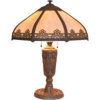Slag Glass Panel Lamp with Painted Shade Accents from ...