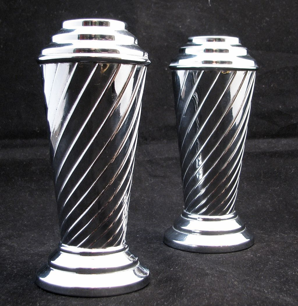 Chrome Decorative Bowl Pair Of English Chrome Art Deco Vases Circa 1930 Sold On