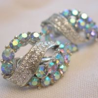 Vintage Aurora Borealis Clip Earrings by Coro from ...