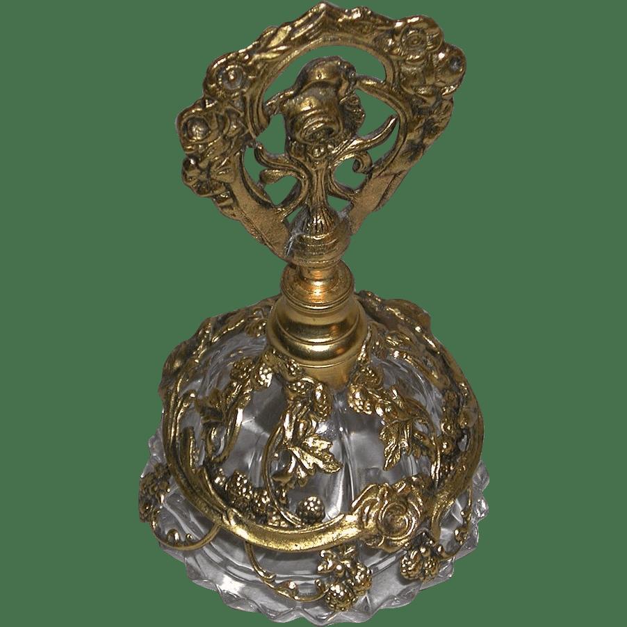 Ornate Vintage Vanity Filigree Floral Design Glass Perfume