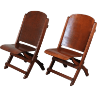 Nice Pair Vintage Wooden Folding Chairs Theater Seats from ...