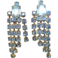 Blue Rhinestone Waterfall Earrings from antiqueali on Ruby