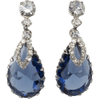 Sapphire Blue Rhinestone Dangle Earrings from rubylane