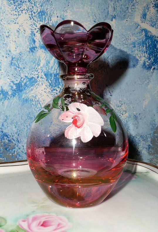 Parfume Bottle Pink Glass Hand Painted Roses Perfume Bottle : Cixi's