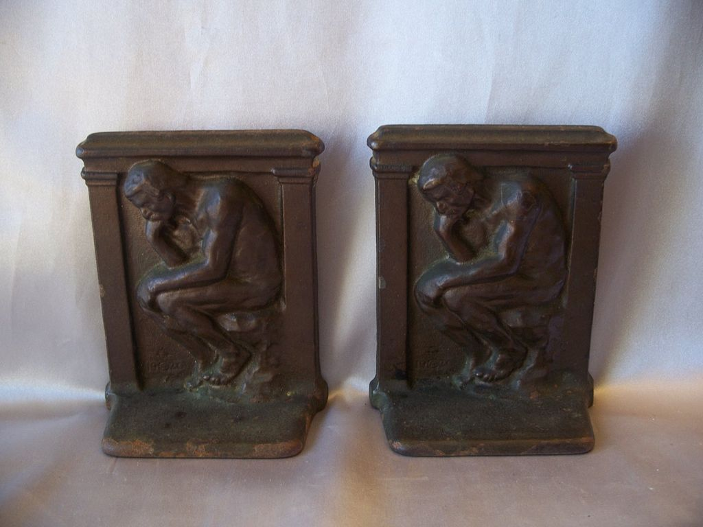 Classic Bookends Vintage Cast Iron Bookends The Thinker From
