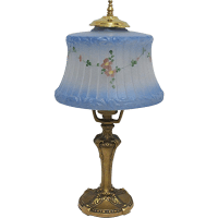 Antique Blue Frosted & Painted Glass Table Lamp from drury ...