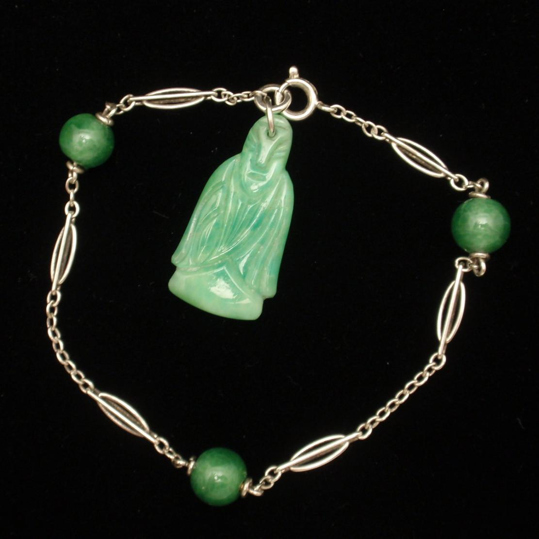 Jade Green Glass Buddha Charm Bracelet Vintage From