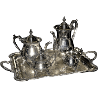 Silver-plated tea and coffee set on tray, Four piece ...
