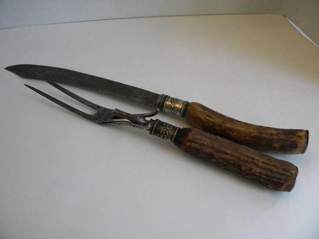Myer Cutlery Set Antique Antler And Sterling Silver Carving Knife Set