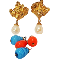 Erwin pearl convertible glass drop earrings pierced from ...