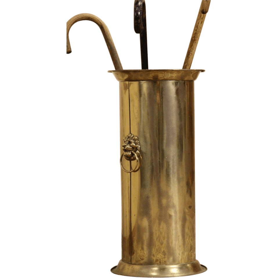 Victorian 1910 Antique Brass Umbrella Stand Cane Holder
