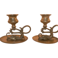 Vintage Pair Of Asian Brass Dragon Candle Holders from ...