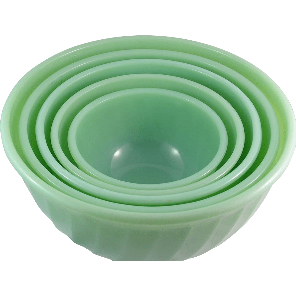 Fabulous Five Piece Fire King Jadeite Swirl Mixing Bowl