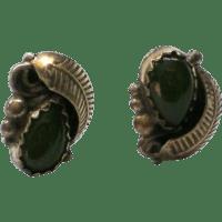 Jade Teardrop Pierced Earrings from manorsfinest on Ruby Lane