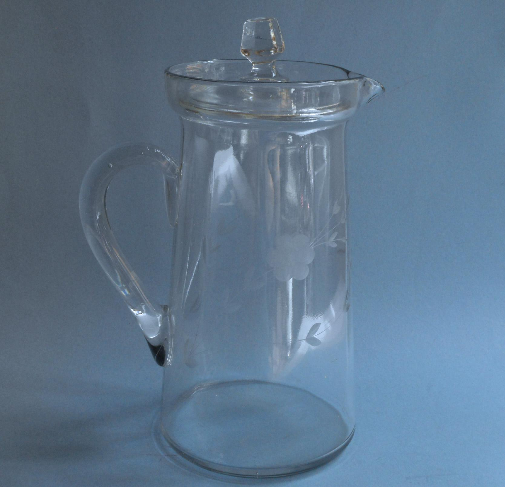 Small Glass Pitcher With Lid Antique Glass Pitcher W Lid Engraved Flowers Lemonade Iced