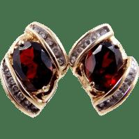 10k Gold Garnet and Diamond Earrings from mur-sadies on ...