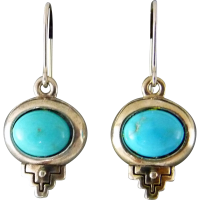 Southwest Turquoise Sterling Silver Earrings from muyifabu ...