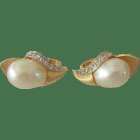 Crown Trifari Faux Pearls Clip Earrings from nansclassics ...