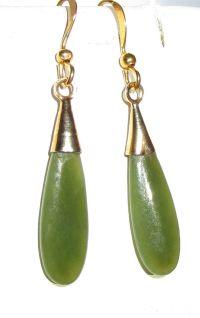 Vintage Green Jade Teardrop Earrings from ...