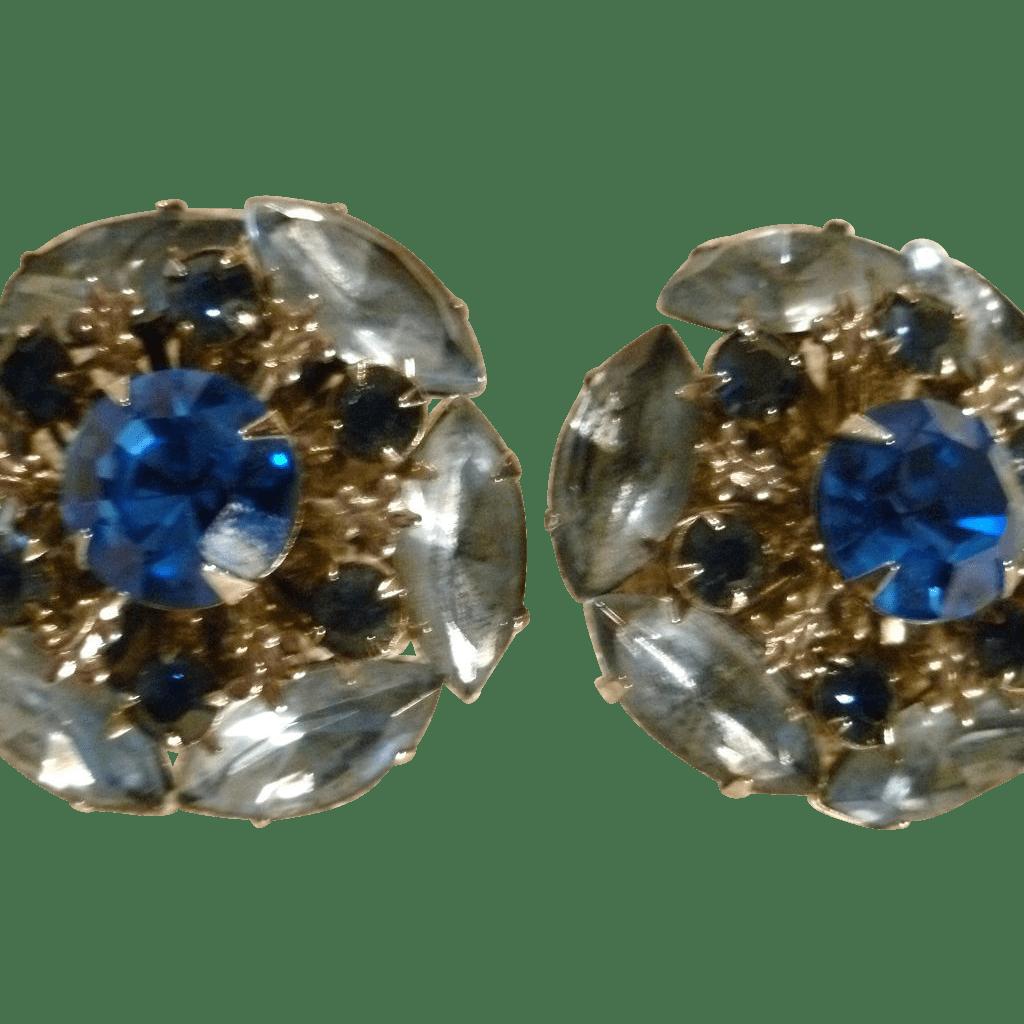 Stunning Blue Rhinestone Earrings from rozsplace on Ruby Lane