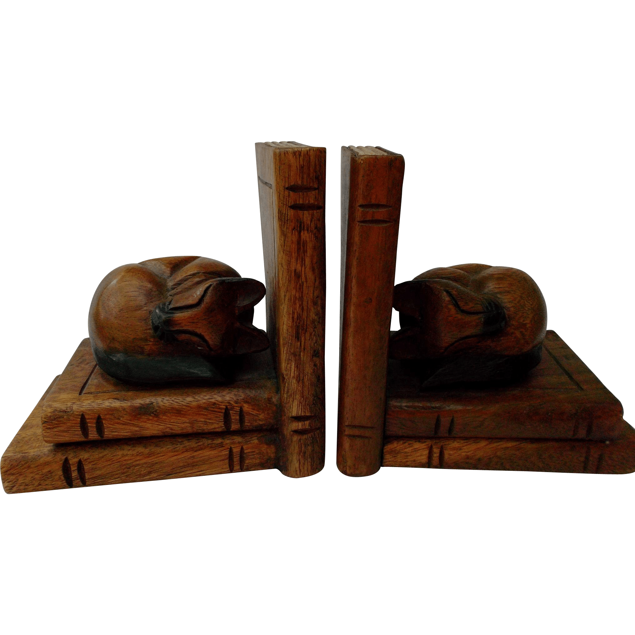 Classic Bookends Carved Wood Cat Bookends Vintage Home Decor From