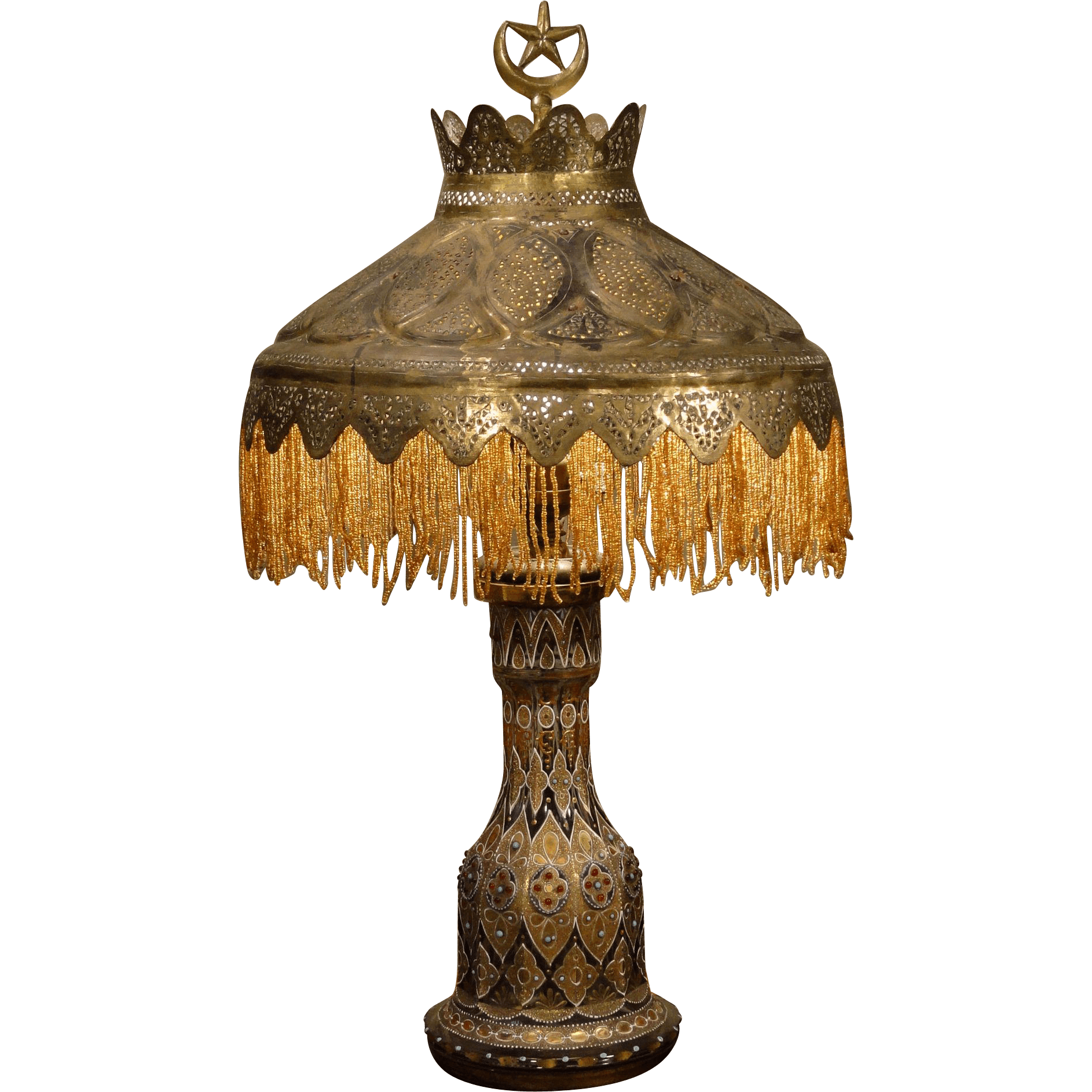 Exotic Persian Enameled Crystal Art Lamp W Mica Lined
