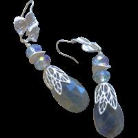 Labradorite Silver Crystal Silver Earrings flashy blue ...
