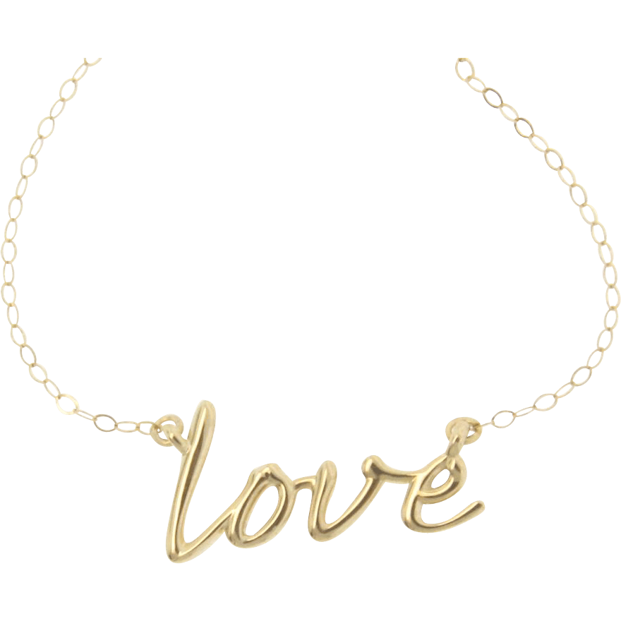 Script Typeface Wikipedia 14k Gold Love Necklace Simple And Romantic From