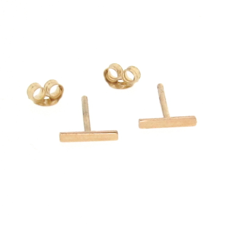 14K Solid Gold Tiny Bar Earrings, Small Line Studs, Stud
