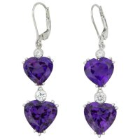 Amethyst Diamond Gold Heart Drop Earrings : Coach House ...