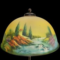 Pittsburgh Reverse Painted Scenic Lamp with Dolphin Base