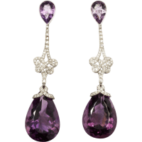 Handsome Amethyst and Diamond Pendant Earrings : Art 1900 ...