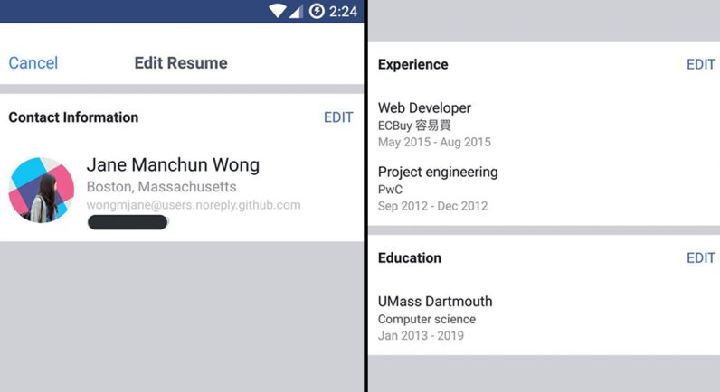 Facebook tests LinkedIn-like resumes so you can flaunt work experience - resume with work experience