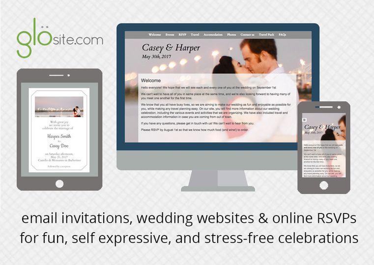 Glo (glosite) email wedding invitations, wedding websites