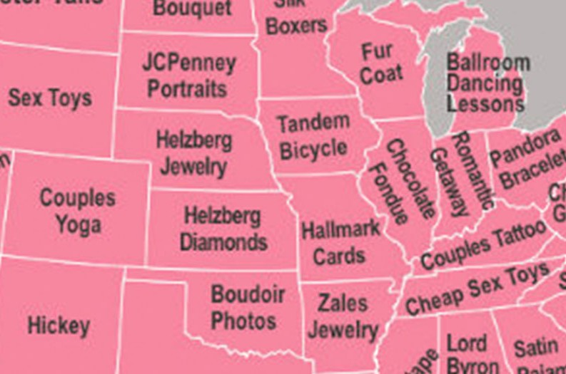 Map Shows the Most Googled Valentine\u0027s Day Gifts in Every State