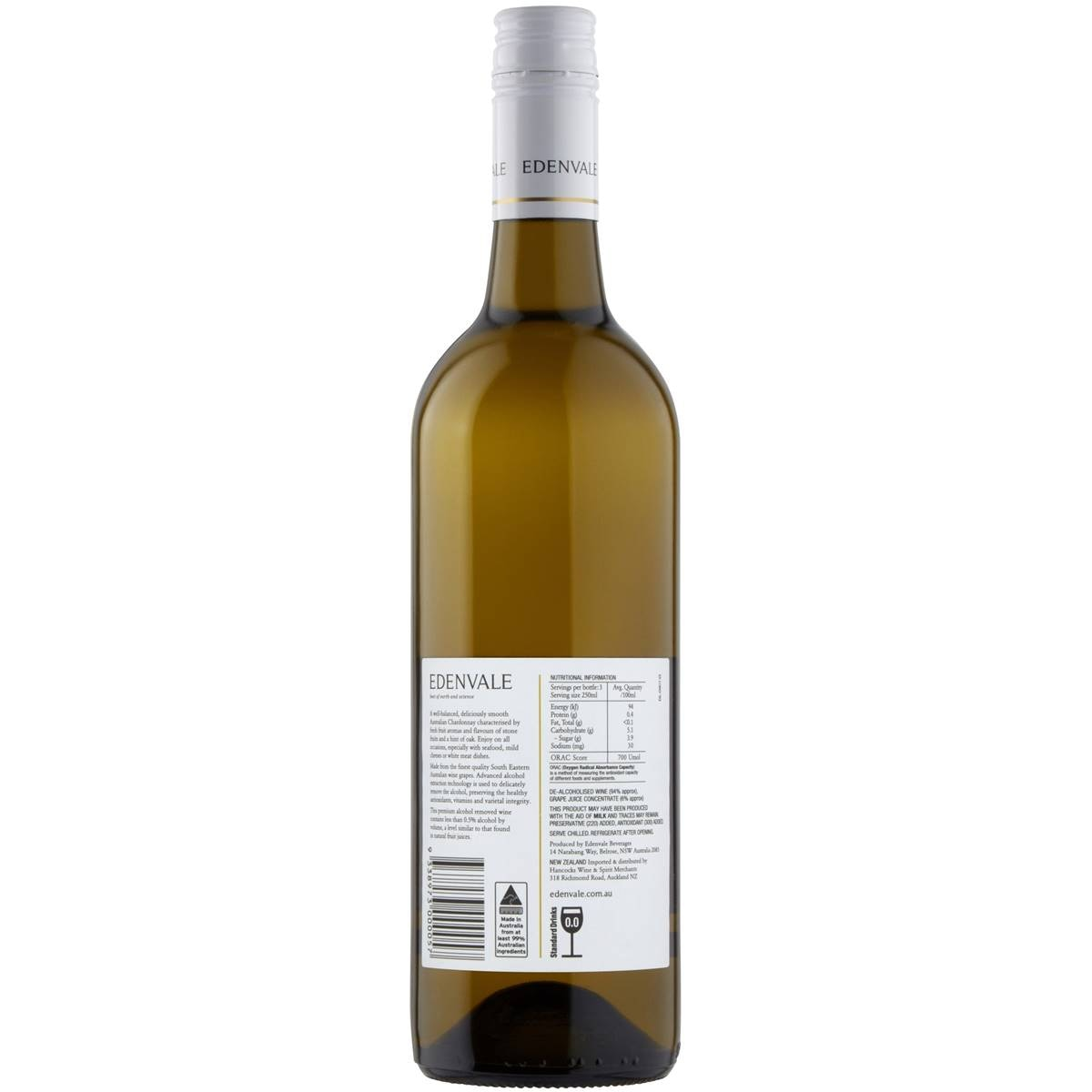 Non Alcoholic Wine Edenvale Non Alcoholic Wine Chardonnay 750ml Woolworths